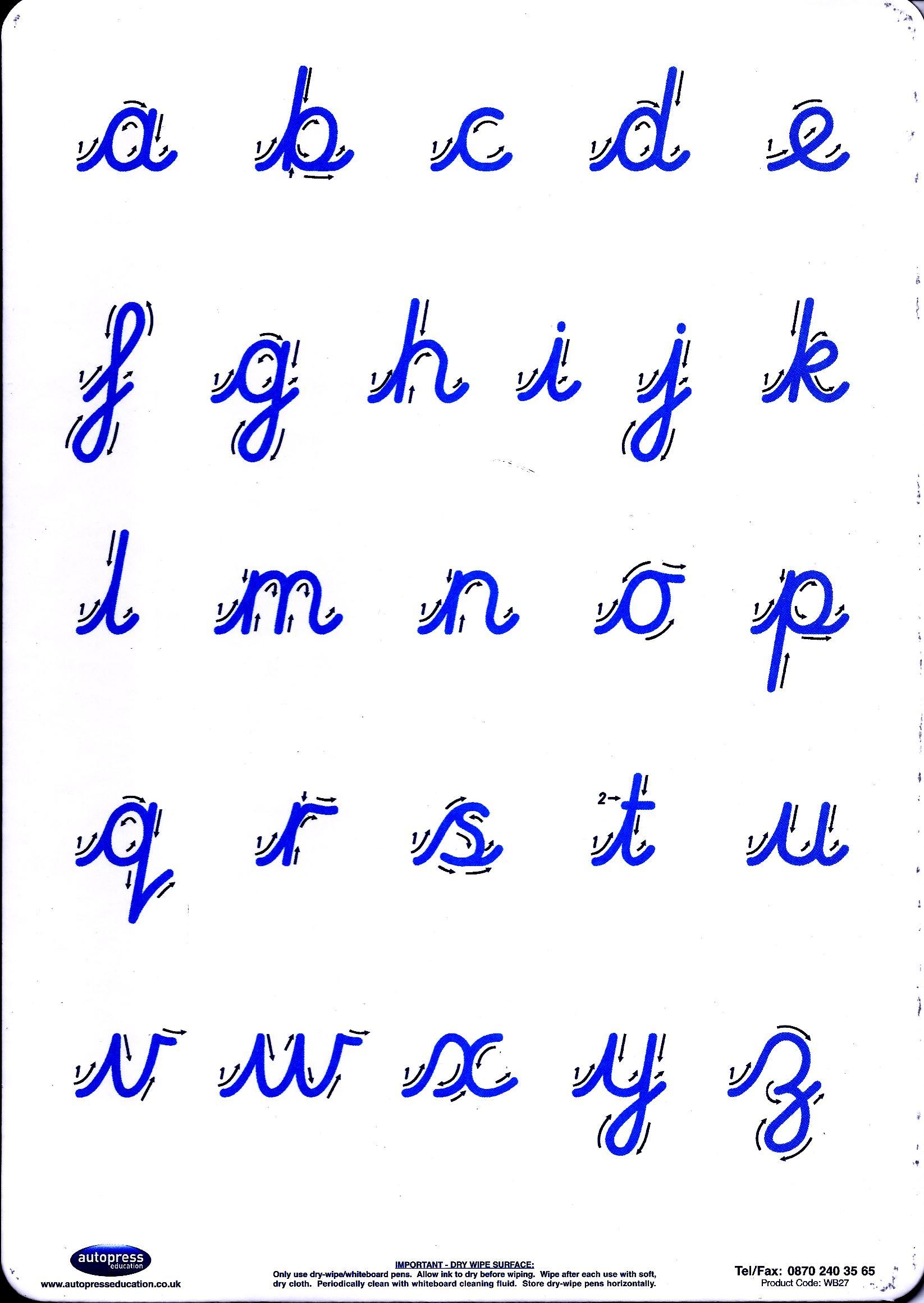 Cursive Letter Formation Practice Board-0